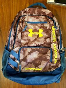 """Under Armour Storm 1 Blue Camo 19"""" Backpack Daypack Yellow Logo Unisex"""