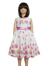 Nuevo Chica Verano Vestido de fiesta lila rosa ORANGE 5 6 7 8 9 10 años