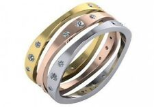 0.36 ct F VS diamond curved 3 stackable wedding rings 14k white yellow rose gold