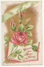 """""""Wishing You A  Merry Xmas"""" Roses, Book, Gold, Antique Christmas Postcard"""