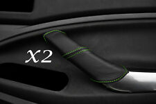 GREEN STITCH FITS FORD C MAX 2008-2010 2X REAR LEATHER DOOR HANDLE COVERS ONLY
