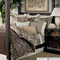 Tommy Hilfiger House On Hill Duvet Set Brown Queen Paisley Floral Cotton Scroll