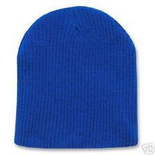 ROYAL BLUE KNIT SHORT WATCH CAP SKI BEANIE CAPS HAT