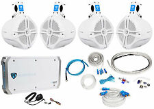 """4 Rockville RWB80W 8"""" Wakeboard Marine Speakers+4 Channel Amplifier+Amp Kit"""