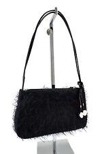 $140 FOLLI FOLLIE Black Fluffy Women's Baguette Pochette Shoulder Bag