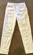 TOPSHOP Ladies Mom Jeans Size 24 White Stenciled Embroidered Mom Jeans EC