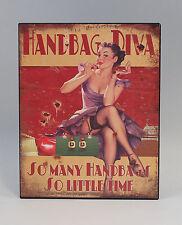 Imagen reclamo Letrero de metal Pin-Up Girl Diva bolso Nostalgia Vintage 9973222