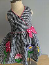 Bonnie Jean Black Gingham Flower Button Halter Dress 2T