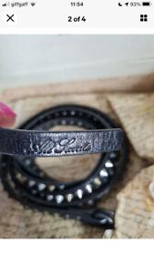 All Saints Black Leather Studded Silver-Gold Belt Size Small/Medium Boho Punk