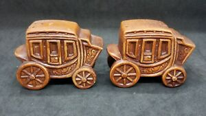 Victoria Ceramics STAGECOACH Salt & Pepper Shakers Old West Japan