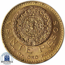 Mexiko 20 Pesos Gold 1959 bfr Goldmünze Aztekenkalender Münze in Münzkapsel