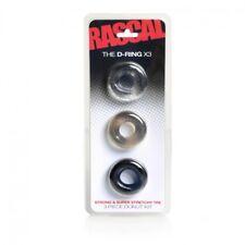 Rascal D-Ring x3 Cock Shaft Scrotum Rings 3pk Stretchy TPE Thick Girth Big Budge