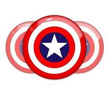 3pcs Capitan America domed emblem decal stickers