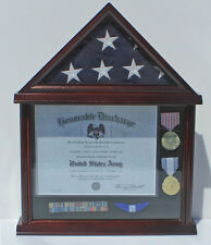 Flag Display Case Military Shadow box for 3'X5' U.S.A Flag, Solid Wood FC11V-MA