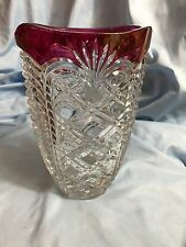 Fostoria  Crystal Cranberry Flash Pineapple Design Vase