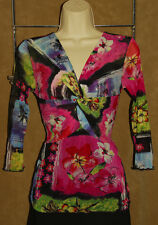 ANGEL - Colorful - Floral Design - Stretchy Sheer NYLON Blouse size S *NICE