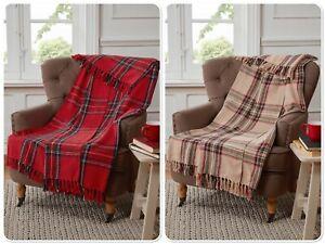 "Rapport ""Tartan"" Check Tassel Detail Throw Blanket 127 x 152cm Red Or Natural"
