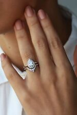 Third Eye Pear Diamond Engagement Ring with Matching Band Real 10KT Gold Ring
