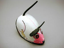 Vintage Koyo Kinzoku Small Friction Drive Mouse Intact Ears & Tail White Pink