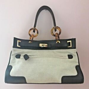 Authentic HUNTER Hand Bag Purse Leather And Canvas Linen