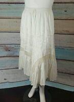 Long Ivory Crochet Lace Tiered Peasant Maxi Boho Dress-Skirt 14/16/18/XL