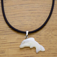 Awesome Leather Mother of Pearl Crystal Cute Dolphin Pendant Adjustable Necklace