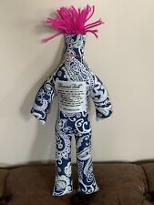 """Dammit Doll Blue Paisley Fabric Pink Hair 12"""" Stress Relief Gift"""