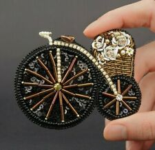 Bicycle Pin Embroidered Brooch Bicycle Accessories Bouquet Brooch Black Jewelry