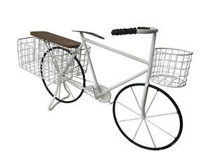 All Chic White Vintage Metal Bike Planter Baskets Shelf Bicycle Garden Decoratio