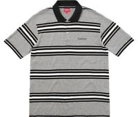Supreme Heather Stripe Black White Polo Shirt Size Medium Mens Box Logo SS18 New