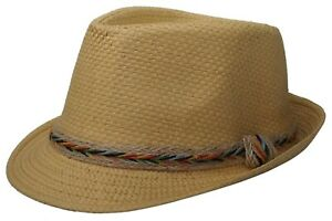 Brown Straw Hat with Color Band Fedora Trilby Cuban Short Brim Panama Hat
