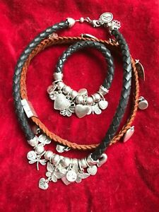 Bibi Bijoux leather silver-plated necklaces and bracelet with Swarovski Crystals