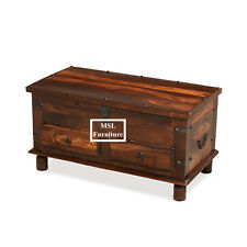 Solid Sheesham Wood Jali Blanket Coffee Table Trunk With Drawers | Madras Range
