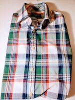 Charles Tyrwhitt Men's Large Casual Button Down Dress Shirt Red Green Blue Check