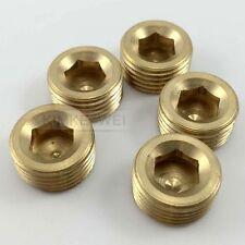 "5pcs 1/2""NPT Brass Internal Thread Socket Pipe Plug"