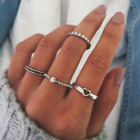 4Pcs/set Women Silver Finger Heart Ring Vintage Knuckle Crystal Rings Jewelry