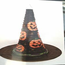 "Halloween Witch Hat Paper Party Lantern Jack o' Lanterns 10"" t x 12"" w Blk NIP"