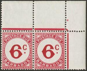 Barbados 1953 KGVI Postage Due 6c Pair with wmk Error Mint SG D6ab cat £180