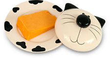 2Kewt Cat Ceramic Butter or Cheese Covered Dish