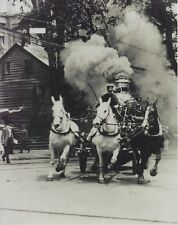 HORSE DRAWN FIRE TRUCK 8X10 PHOTO FIREFIGHTING PICTURE 1890'S FURNACE SMOKE
