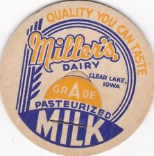 MILK BOTTLE CAP. MILLER'S DAIRY. CLEAR LAKE, IA. REPRODUCTION