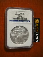2010 $1 AMERICAN SILVER EAGLE NGC MS70 EARLY RELEASES BLUE LABEL