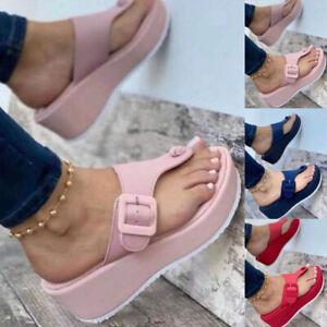 Ladies Slip On Clip Toe Sandals Womens Mules Slide Wedge Heel Casual Beach Shoes
