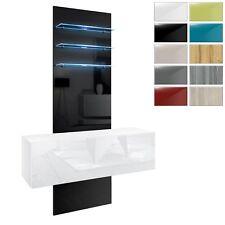Wohnwand Flurmöbel Hängeschrank Glas LED Brooklyn Weiß - Hochglanz & Naturdekor