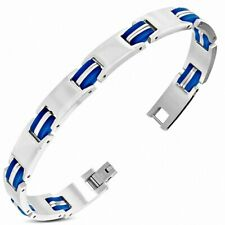 Bracelet With Link Panther Stainless Steel With Rubber Blue 412