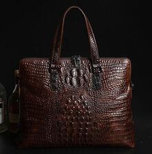 F1 Men Genuine Leather Briefcase Crocodile Laptop Shoulder Messenger handbag bag