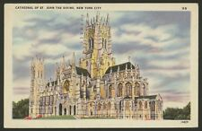 USA. New York City. Cathedral of St. john the Devine. Vintage Linen Postcard