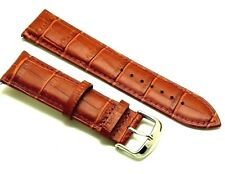 22mm Brown Alligator Grain Leather Replacement Watch Band - Guess Fossil Men's