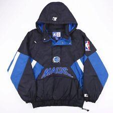 Vintage STARTER NBA MAGIC ORLANDO Black Puffer Hooded Jacket Size Mens XL