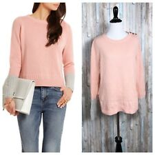 Chinti Parker S Pink Knit 100% Cashmere Two Tone Crewneck Sweater Pullover